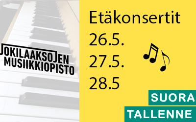 Jokilaaksojen musiikkiopisto -etäkonsertti 26.5. klo 18