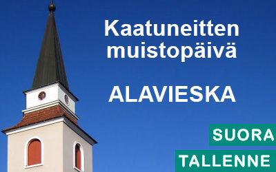 Kaatuneitten muistopäivä Alavieskassa, seppeleen lasku sankarihaudalle.