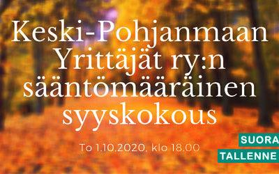 Keski-Pohjanmaan Yrittäjät ry:n syyskokous 2020
