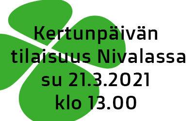 Kertunpäivän tilaisuus Nivalassa 21.3.2021 klo. 13.00